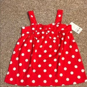 Red polka dot tank top with bow